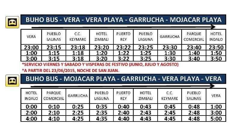 Buho Bus VIERNES Y SABADOS HASTA 31-08-15